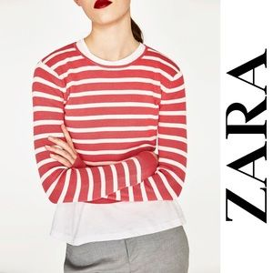 Zara Knit Women's Coral Striped Crop Sweater, M